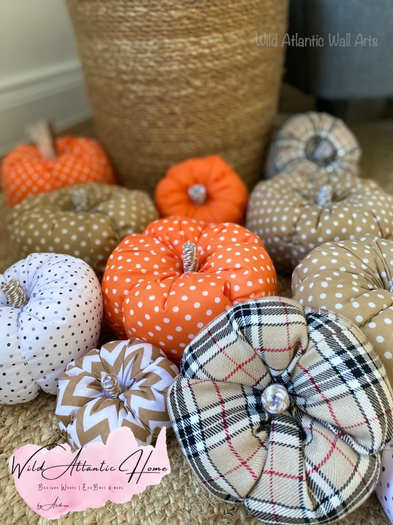 Handmade fabric pumpkins Ireland. Stuffed Fabric Pumpkin, Autumnal Decoration. Seasonal Home Decor, Small business. Halloween, Autumn vibes, hand made, irish, pumpkin set sale