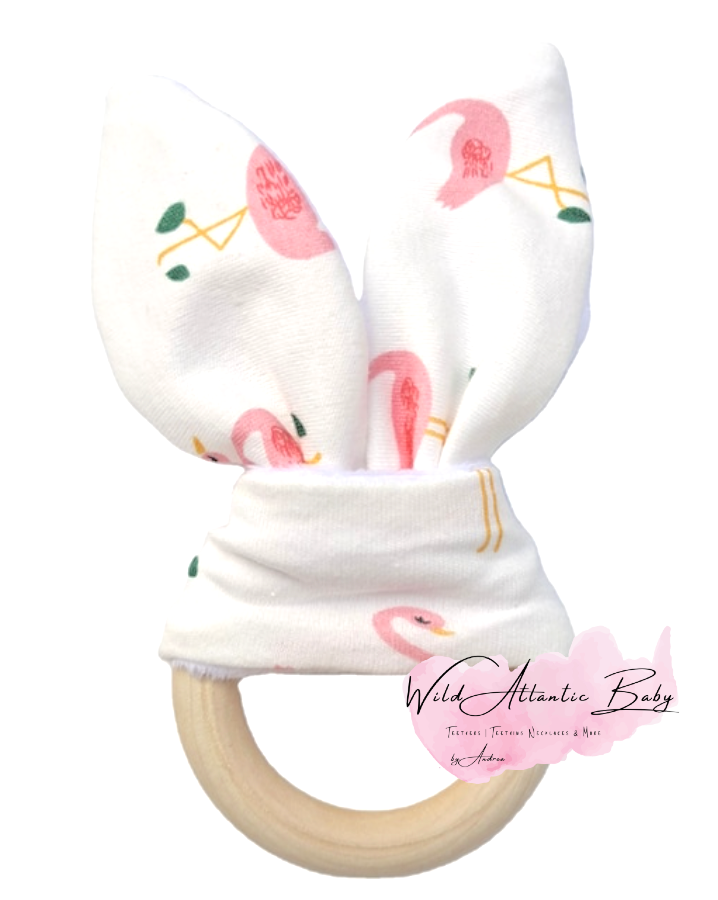 The soft bunny ears are perfect for little hands to hold, while chewing on the wood teething ring. Baby's stocking fillers, christmas gift, teethers, natural teether, crinkle noise ears, baby stimulation