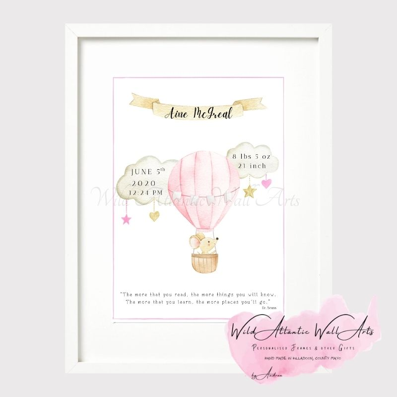 """""""The more that you read, the more things you will know. The more that you learn, the more places you'll go."""" ― Dr. Seuss Personalised Baby Frame. Personalised Gift Frame for Birth, Birthday. Baby, Child Gift idea. Birth Stats, Baby's keepsake. New parent gift. Big Size Photo frame, timber frame, glass front."""