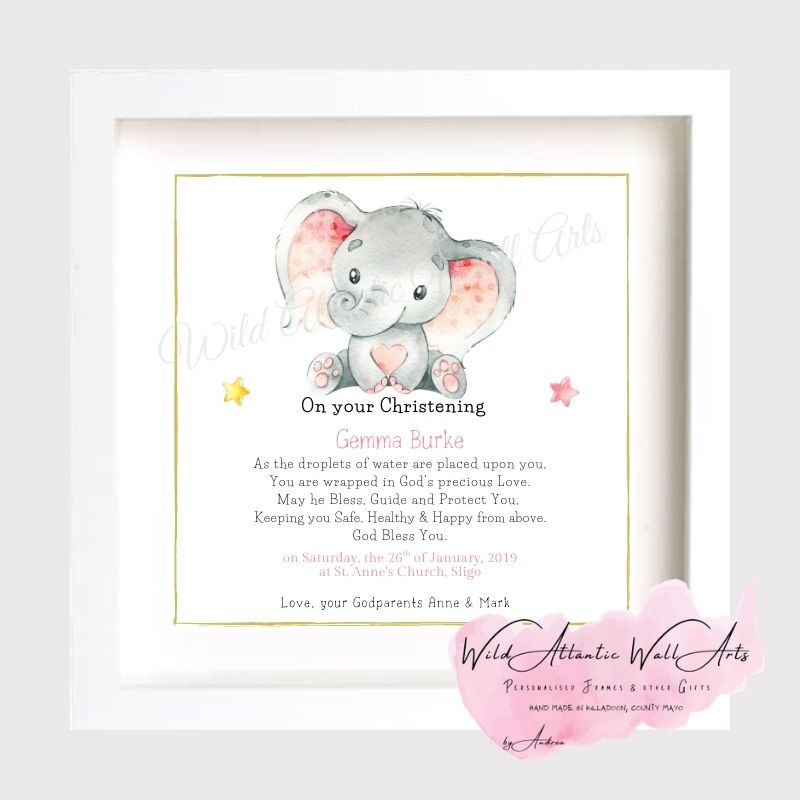 Christening Photo Frame, Personalised Christening Gift for the new baby. Unique, hand-made gift, frame to treasure forever. Ten little Toes, ten little fingers, the sweetest smile and a cute little nose. Christening Frame to treasure the big day of the Christening. Godparents, godmother, godfather gift