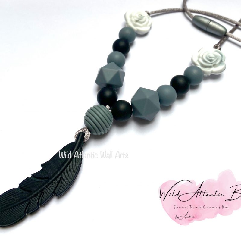 Black Feather Teething | Feeding Necklace