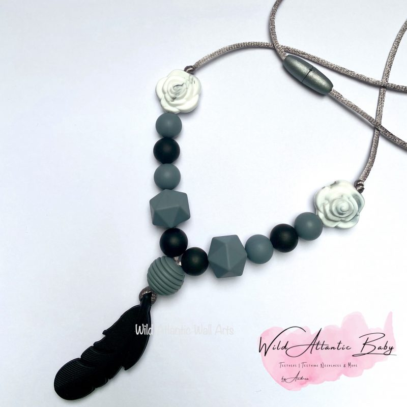 Black Feather Teething | Feeding Necklace
